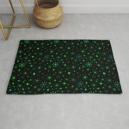 Atomic Starry Night in Neon Green Glow + Black Rug