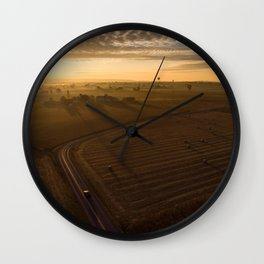 Country Sunrise over Voganville Road -1554 Wall Clock