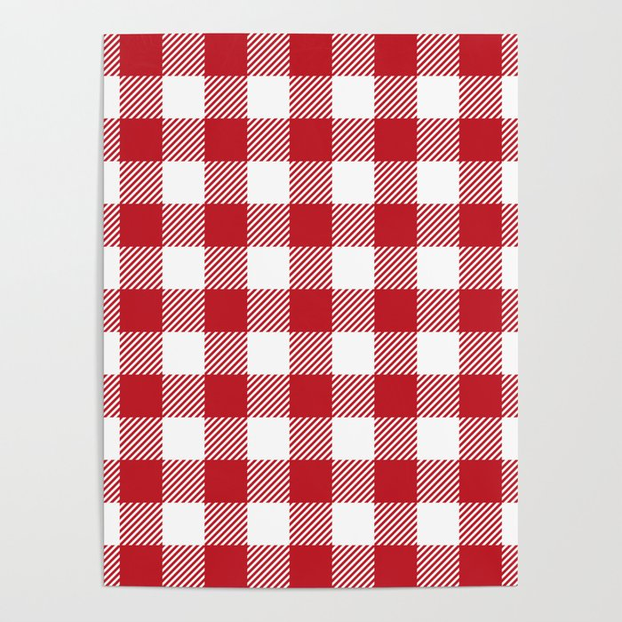 Buffalo Plaid - Red & White Poster
