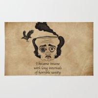 poe Area & Throw Rugs featuring Poe insane by 2headedsnake