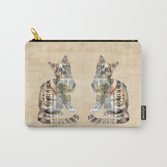 Cat Newspaper Collage Carry-All Pouch