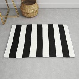 Rich black (FOGRA39) - solid color - white stripes pattern Rug