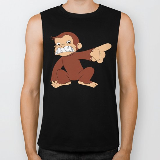 Furious George Funny Monkey Cartoon Animal Biker Tank