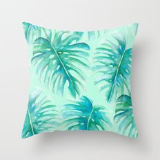 Paradise Palms Mint Throw Pillow