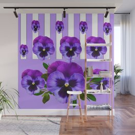 MODERN LILAC & PURPLE PANSY FLOWERS ART Wall Mural