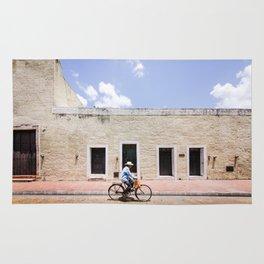 Riding a Bike in Merida, Mexico Rug