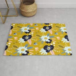 Mustard Yellow and Navy Floral Rug