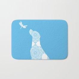 Labrador Retreiver Dog On Blue Colour Bath Mat