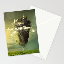 Fascinating Beautiful Levitating Flying Fantasy Castle Island Sun Moon Meadow Ultra HD Stationery Cards