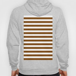 Narrow Horizontal Stripes - White and Chocolate Brown Hoody