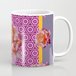GREY ABSTRACT ANTIQUE ROSES FUCHSIA FLORAL Coffee Mug