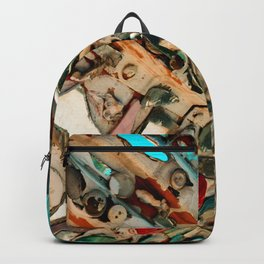 Abstract Mirror Button Baltimore Mosaic Print Backpack