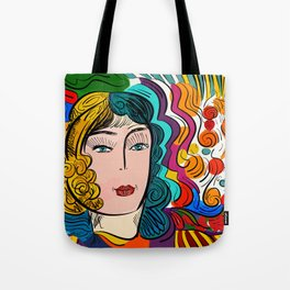Colorful Pop Girl Illustration Portrait Fashion Digital Tote Bag