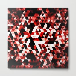 Triangle Geometric Vibrant Red Smoky Galaxy Metal Print