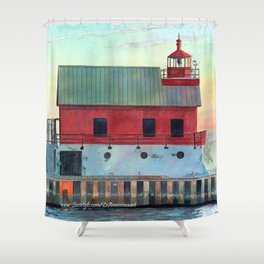 Grand Haven Outer lighthouse Focus Shower Curtain