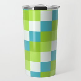 Apples and Pears - Pixelated Pattern with blues and green  Travel Mug