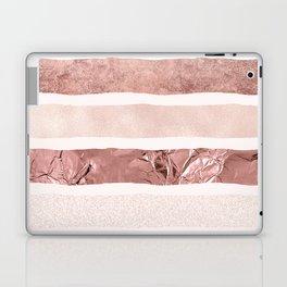 Modern blush pink faux rose gold geometrical stripes Laptop & iPad Skin