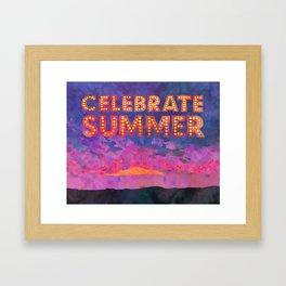 Celebrate Summer Sunset Scene Watercolor Painting Framed Art Print