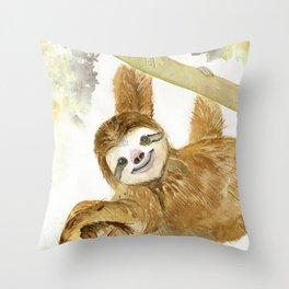 Smiley Sloth Throw Pillow