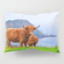 Highland cow watercolor painting #9 Pillow Sham
