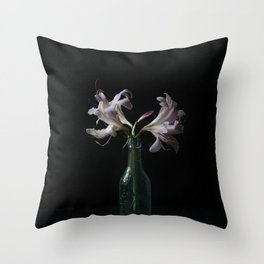 Resurrection Lily in a Vintage Bottle Throw Pillow