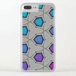 Minimal Aqua Magenta Circle Gradient Clear iPhone Case