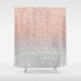 Modern trendy rose gold glitter ombre silver glitter Shower Curtain