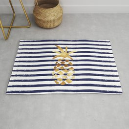 Pineapple & Stripes - Navy / White / Gold Rug