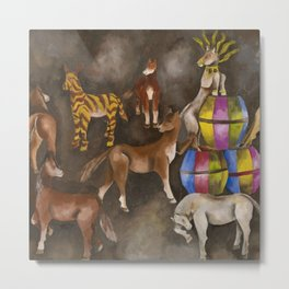 Horses and Ponies at Play portrait painting by María Izquierdo Metal Print