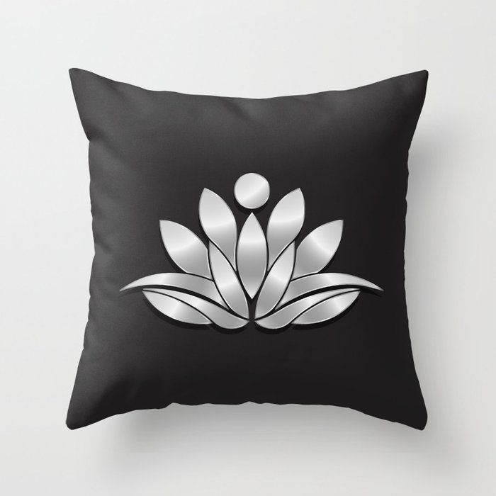Silver Lotus Flower People Good Fortune Design Throw Pillow By
