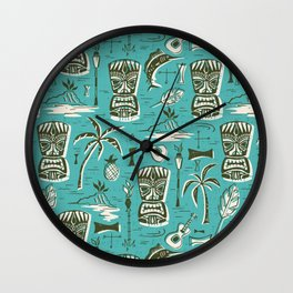 Tropical Tiki - Aqua Wall Clock