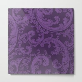 Retro Chic Swirl Royal Lilac Metal Print