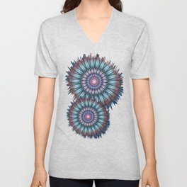 groovy bloom in blue, pink, orange and turquoise Unisex V-Neck