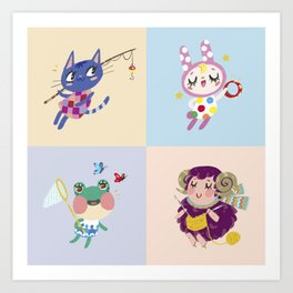 Animal Crossing Cute Villagers Art Print