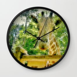 Giraffe Face Close Up Wall Clock