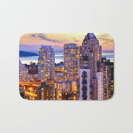 Yaletown Voyeuristic 0361 Vancouver Cityscape View English Bay British Columbia Canada Sunset Travel Bath Mat