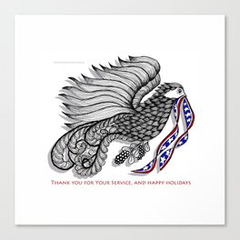 Veterans Happy Holiday and Thank You for Your Service - Zentangle Illustration Canvas Print