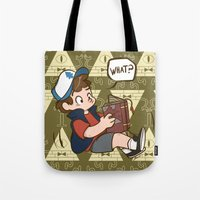 gravity falls Tote Bags featuring Dipper Pines - Gravity Falls by BlacksSideshow