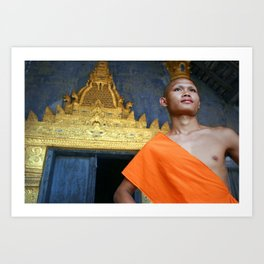 Buddhist monk in Luang Prabang, Laos Art Print