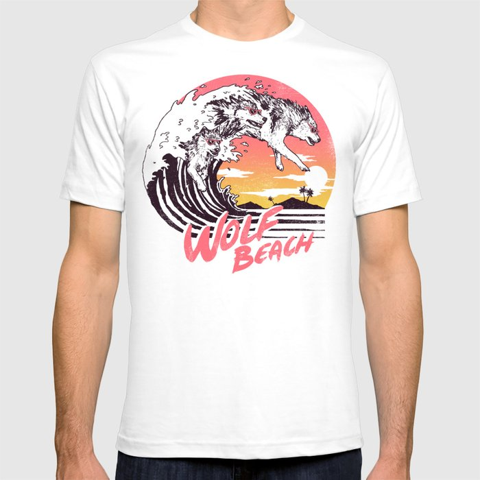 Wolf beach t shirt by wytrab8 society6 for Beach t shirts for men