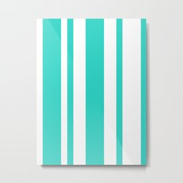 Mixed Vertical Stripes - White and Turquoise Metal Print