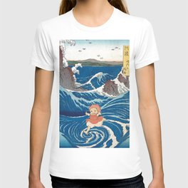 Ponyo and vintage japanese woodblock mashup T-shirt