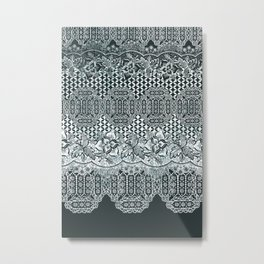 lace border with floral and geo mix monochrome Metal Print