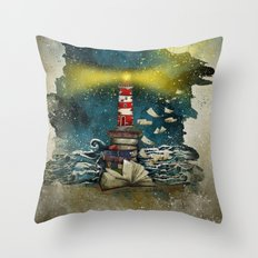 the sea is poetry Throw Pillow