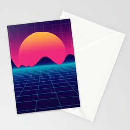 Throwback Sunset Synthwave Stationery Cards