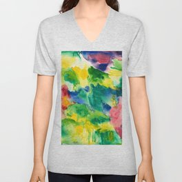 Watercolor Wash Print in Tropical Colors of Green, Blue and Yellow Unisex V-Neck