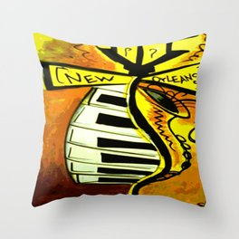 Black and gold New Orleans street lamp with piano keys Throw Pillow