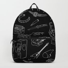 80's Pattern Black Backpack