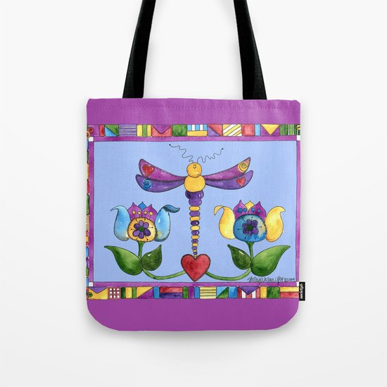 Dragonfly Love with Border Tote Bag