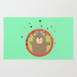 Party Bear with Spots in cirlce Rug